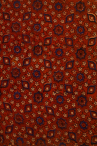 Maroon with Beige Small Flowers Ajrak Cotton Fabric-2.4m