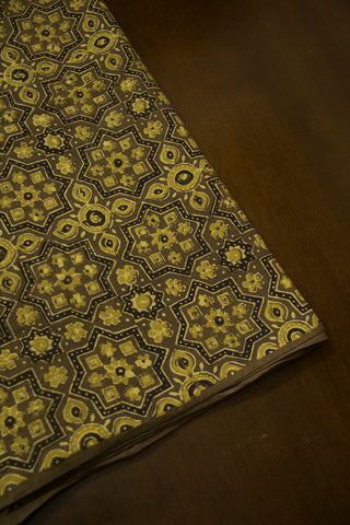 Olive Green with Grey Ajrak Cotton Fabric