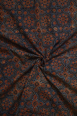 Faded Indigo with Black Big Star Ajrak Cotton Fabric