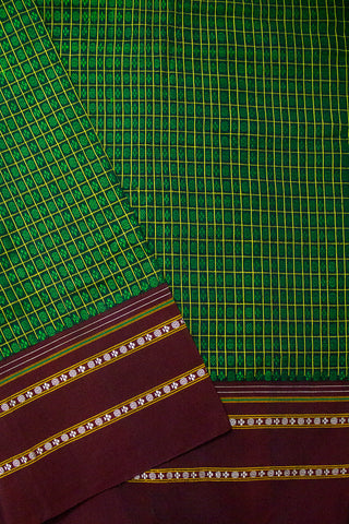 Green with Yellow Checks Khun Silk Cotton Fabric