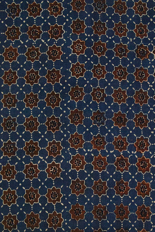 Blue with Brown Stars Ajrak Cotton Fabric