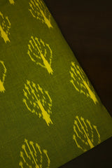 Yellowish Green Handwoven Ikat Cotton Fabric