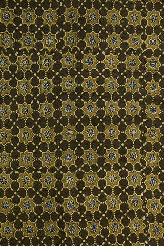 Olive Green Stars Ajrak Cotton Fabric