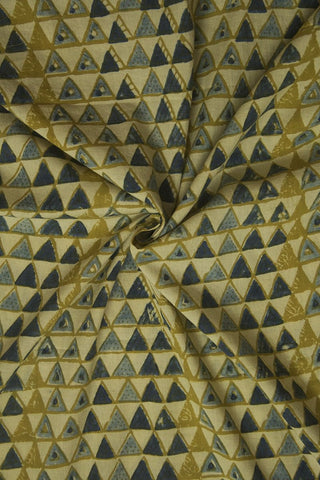 Faded Colour Triangles Ajrak Cotton Fabric - 1.7m