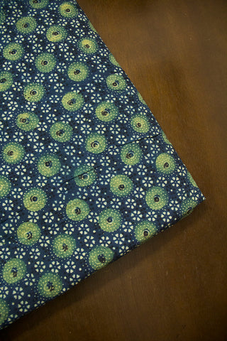 Indigo with Yellowish Green Circles Ajrak Cotton Fabric