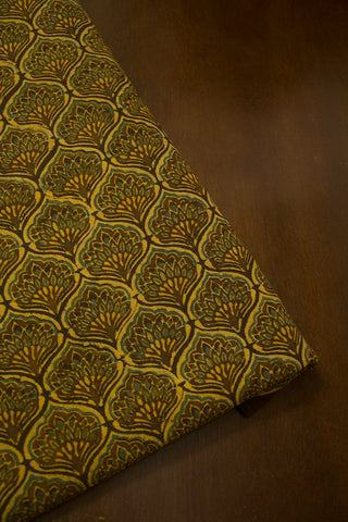 Dark Olive Green with Indigo Ajrak Cotton Fabric