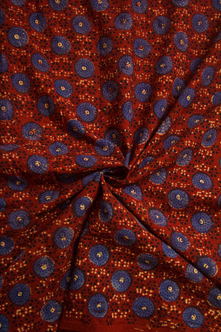 Maroon with Indigo Circles Ajrak Cotton Fabric