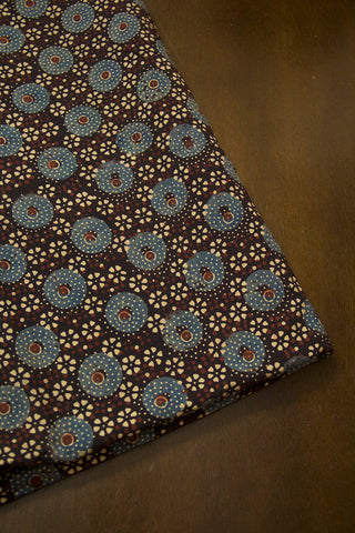 Black with Faded Blue Ajrak Cotton Fabric