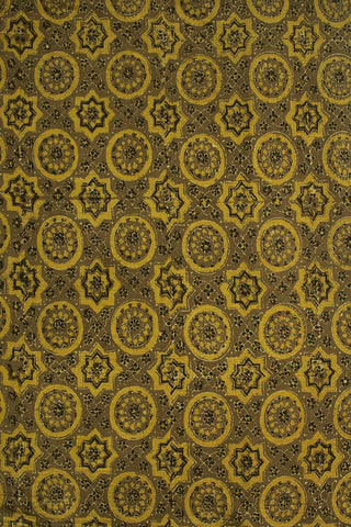 Pale Yellow with Grey Circles and Stars Ajrak Cotton Fabric