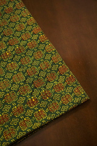 Subdued Green with Maroon Ajrak Cotton Fabric