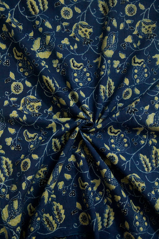 Indigo Floral Ajrak Cotton Fabric-0.9m