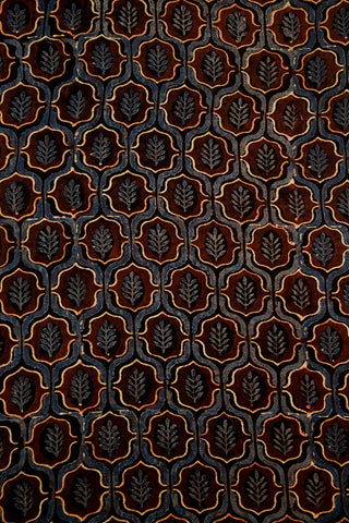 Brown with Faded Blue Ajrak Cotton Fabric