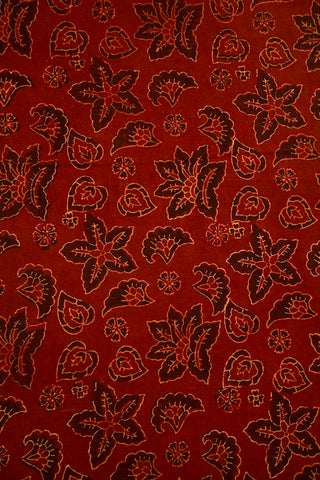 Maroon Flower Ajrak Cotton Fabric
