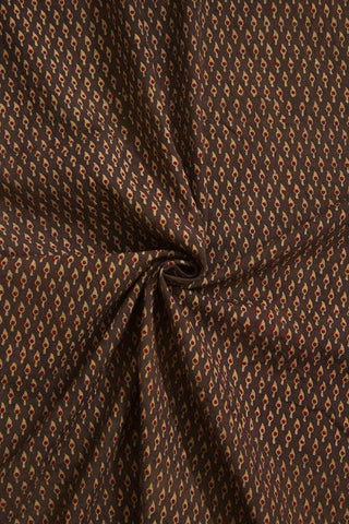 Greyish Brown Ajrak Cotton Fabric-1 m