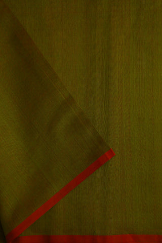 Double Shade Maroonish Green Silk Cotton Maheshwari Fabric-2 m
