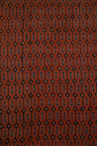 Rust Red with Indigo Hive Ajrak Cotton Fabric