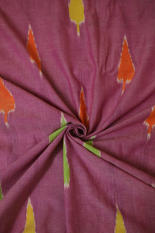 Orange and Green Leaf Handwoven Ikat Fabric