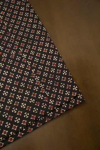 Maroon Dots Ajrak Cotton Fabric