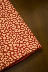 Beige with Maroon Ajrak Cotton Fabric