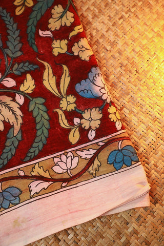 Leaves in Maroon Painted Kalamkari Cotton Fabric