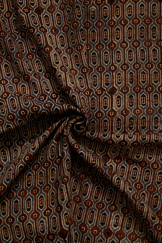 Brown Hive Ajrak Cotton Fabric