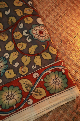 Florals in Grey Hand Painted Kalamkari Cotton Fabric