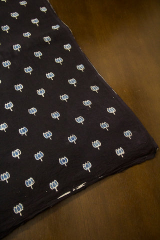 Black with Indigo Lotus Ajrak Cotton Fabric