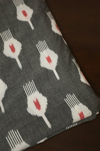 Red and White in Grey Handwoven Ikat Fabric