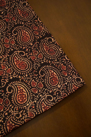 Beige Paisley Ajrak Cotton Fabric