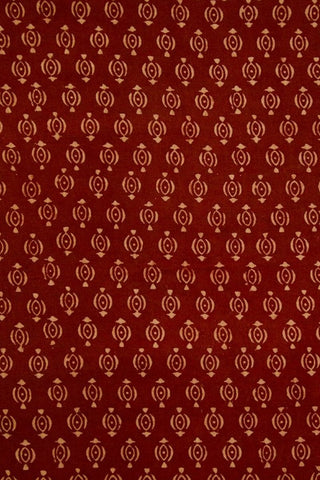 Maroon with Beige Floral Ajrak Cotton Fabric-1.6 m