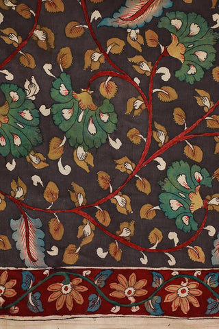 Grey with Maroon Border Hand Painted Kalamkari Cotton Fabric
