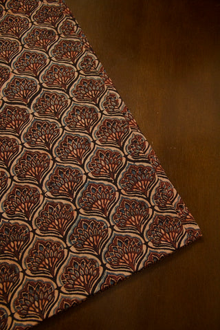 Brown Floral Ajrak Cotton Fabric