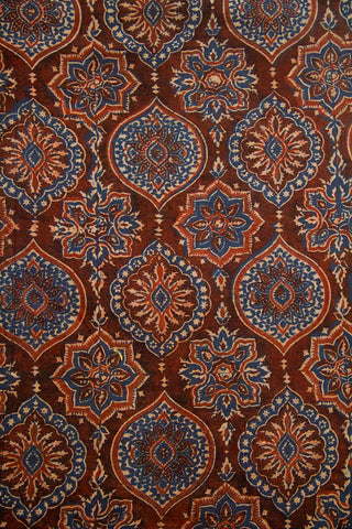 Rust Red with Indigo Intricate Design Ajrak Cotton Fabric