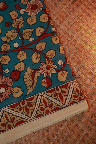 Blue Floral Hand Painted Kalamkari Cotton Fabric