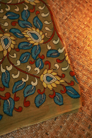 Olive Green Hand Painted Kalamkari Cotton Fabric-2 m