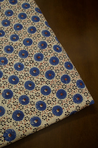 Off White with Indigo Circles Ajrak Cotton Fabric