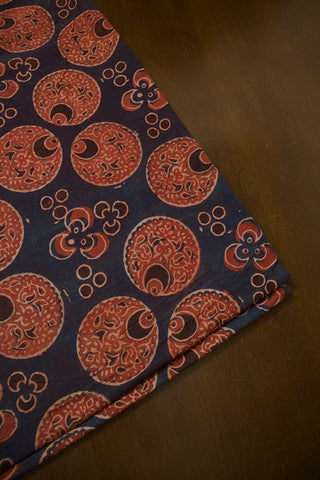 Greyish Blue with Maroon Intricate Circles Ajrak Cotton Fabric