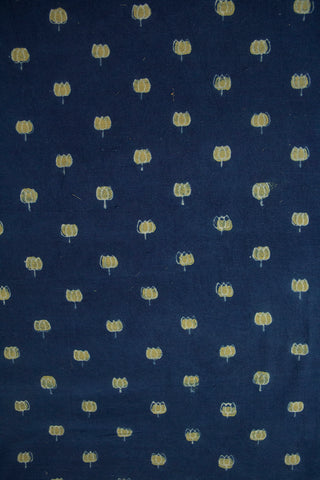 Indigo with Yellowish Green Lotus Ajrak Cotton Fabric