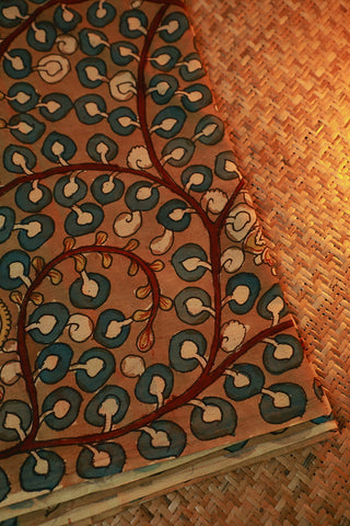 Greyish Brown Hand Painted Kalamkari Cotton Fabric-0.85 m