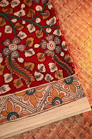 Maroon Hand Painted Kalamkari Cotton Fabric-1.3 m
