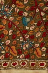 Red and Yellow Leaf Painted Kalamkari Cotton Fabric
