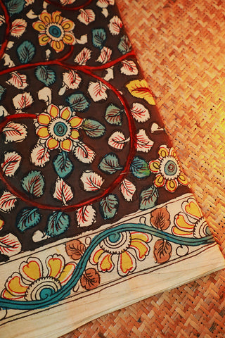 Double Colour Leaves Painted Kalamkari Cotton Fabric-1.4 m