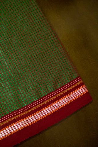 Green with Maroon Khun Cotton Fabric