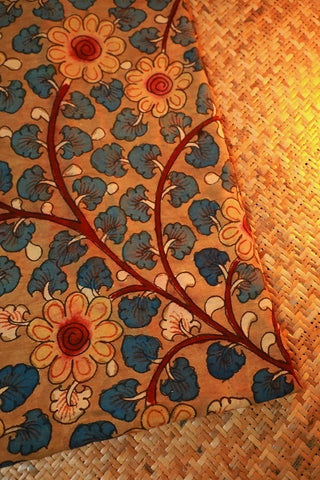 Florals in Light Brown Hand Painted Kalamkari Cotton Fabric