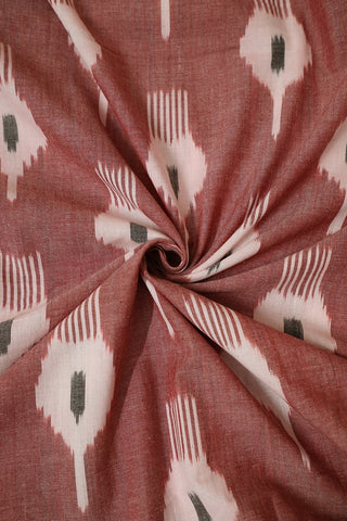 Maroon with Off White and Black Handwoven Ikat Fabric