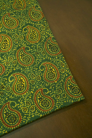 Green Paisley Ajrak Cotton Fabric