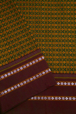 Peacock Green with Brown Checks Khun Silk Cotton Fabric