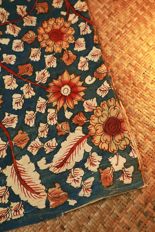 Faded Peacock Blue Painted Kalamkari Cotton Fabric