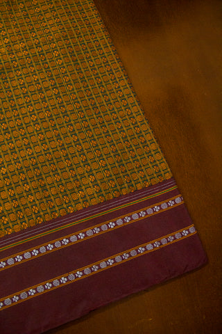 Peacock Green with Brown Checks Khun Silk Cotton Fabric- 0.6 m