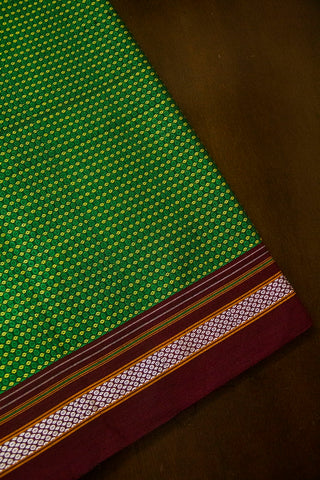 Green with Yellow Khun Cotton Fabric